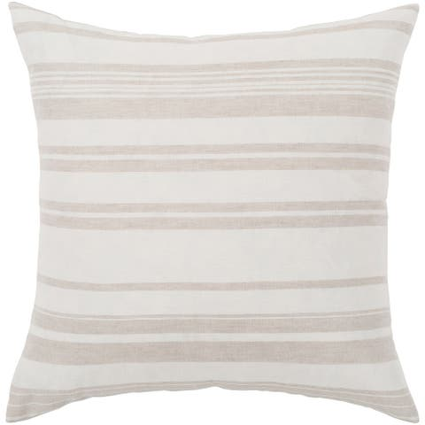 "Lawson Ivory & Beige Striped Throw Pillow Cover (18"" x 18"")"