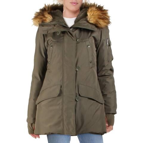 Aqua Womens Eskimo Parka Coat Winter Down - Army/Natural