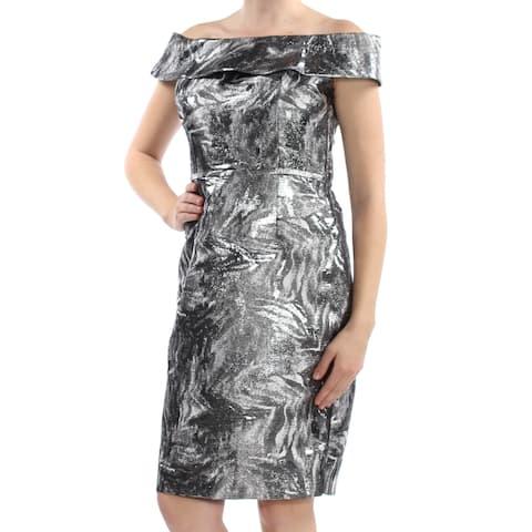 b79c8d5e0cb CALVIN KLEIN Womens Silver Metallic Brocade Off Shoulder Knee Length Sheath  Cocktail Dress Size: 10