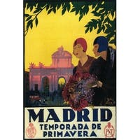 Madrid, Spain - Madrid in Springtime - Vintage Ad (Chef's Cotton/Poly Apron)