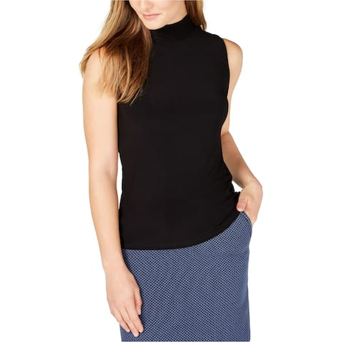 Anne Klein Womens Mock Neck Pullover Blouse, black, Medium