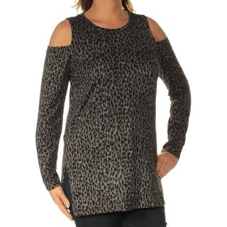Womens Black Animal Print Long Sleeve Jewel Neck Casual Top Size L