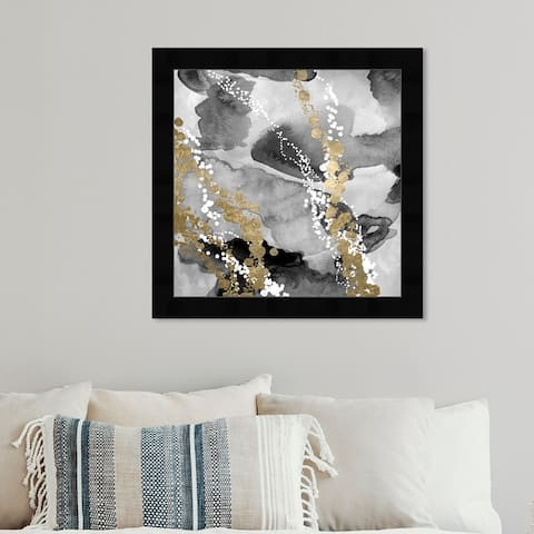 Oliver Gal 'Even More Love SILVER GOLD' Abstract Framed Wall Art Prints Watercolor - Black, Gold