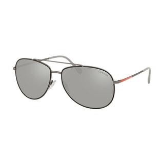Prada Linea Rossa PS 55US 6BJ2B0 61 Black Rubber/gunmetal Man Pilot Sunglasses