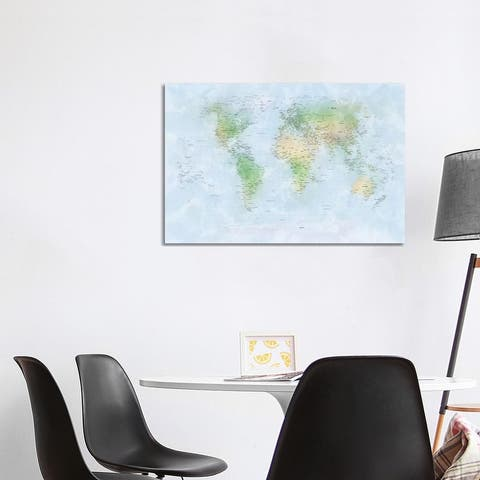 "iCanvas ""World Map III"" by Michael Tompsett Canvas Print"