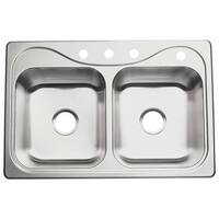 """Sterling 11401-4 Southhaven 33"""" Double Basin Drop In Stainless Steel Kitchen Sink with SilentShield® - STAINLESS STEEL"""