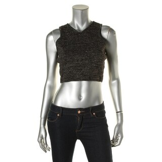 JOA Womens Double V Metallic Crop Top