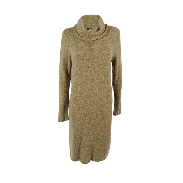 84acf339b08 Shop Ralph Lauren Women s Turtle Neck Wool Blend Sweater Dress - neutral  donegal - pl - Free Shipping Today - Overstock - 15014677