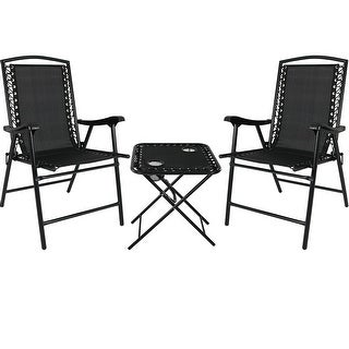 Sunnydaze Set of 2 - Black Outdoor Suspension Folding Patio Chairs with Table