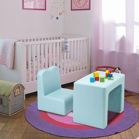 Children Sofa Multi-Functional Sofa Table and Chair Set Blue/Pink