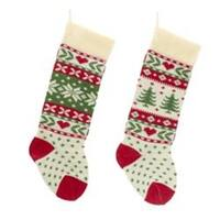 """Pack of 12 Cream Tree and Snowflake Design Knit Christmas Stockings 24"""" - RED"""