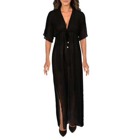 Vince Camuto Womens Sheer Maxi Caftan Swim Cover-Up - Black - XS