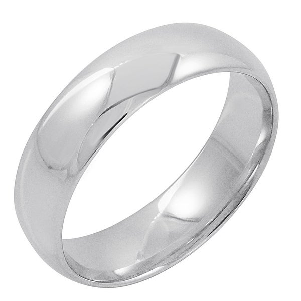 Oxford Ivy Mens 10K White Gold 6mm Comfort Fit Plain Wedding Band