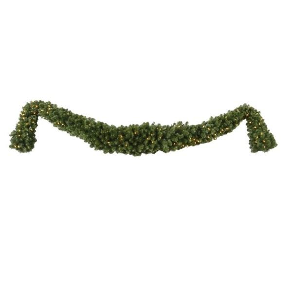 "12' x 18"" Pre-Lit Grand Teton Christmas Swag Garland - Clear LED Lights - green"