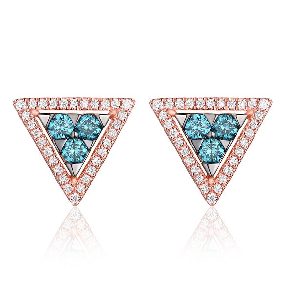 Triangle Shaped 0.53ct G-H/SI1 Blue Color Diamond with Natural Diamond Push Back Earring - White G-H