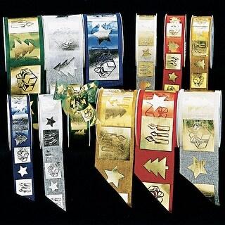 """Hunter Green and Gold German Christmas Print Organza Craft Ribbon 1.5"""" x 54 Yards"""