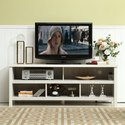 58-inch Mid-century Wood TV Console with Storage Cabinets