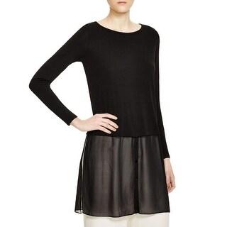 Eileen Fisher Womens Pullover Top Chiffon Hem Bateau Neck - m