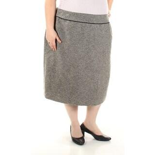 KASPER Womens Gray Tea Length Sheath Wear To Work Skirt Plus Size: 24W