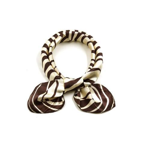 Ladies Square Shaped Zebra Prints Leisure Scarf - Brown Beige