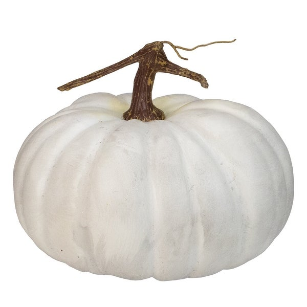 """10"""" White Flat Round Pumpkin Fall Harvest Table Top Decoration - N/A"""