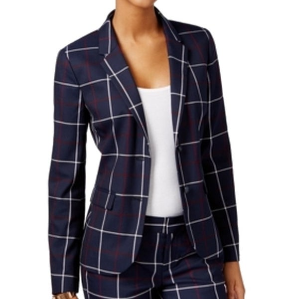 f111ea1fc Shop Tommy Hilfiger NEW Blue Peacoat Plaid Print 10 Blazer Buttoned Jacket  - Free Shipping On Orders Over $45 - Overstock - 18364091