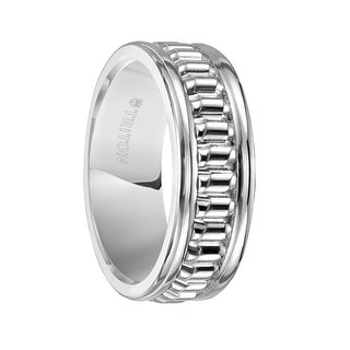 MILBURN White Tungsten Carbide Comfort Fit Band with Corrugated Textured Center and Polish Finished Rims by Triton Rings - 8 mm