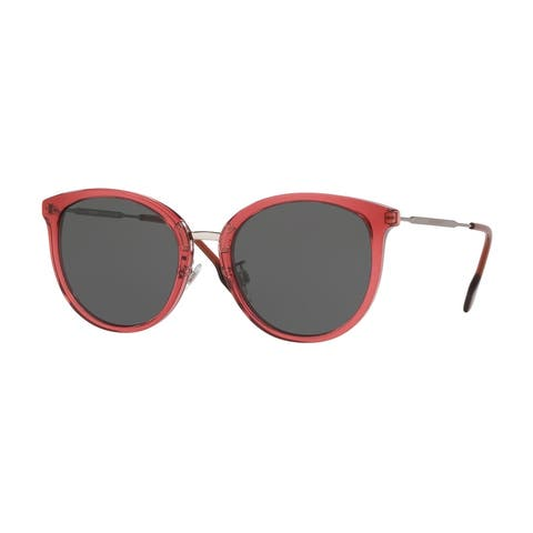 Burberry BE4289D 378987 56 Transparent Red Woman Round Sunglasses