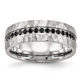 Stainless Steel Brushed and Polished Black CZ Hammered Ring - Sizes 7 - 13