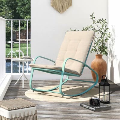 Patio Rocking Chair Padded Steel Rocker Chair