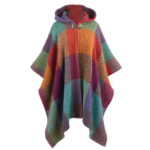 Branigan Weavers Herringbone Colorblock Hooded Cape -Alpaca Wool Boucle Handmade - One size
