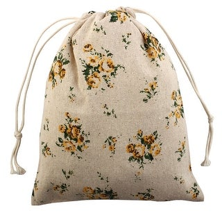 Floral Pattern Sundries Storage Candy Gift Pouch Drawstring Bag Yellow Large