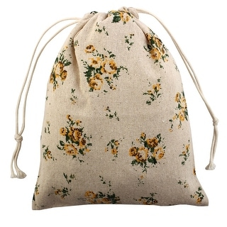 Floral Pattern Sundries Storage Candy Gift Pouch Drawstring Bag Yellow Medium
