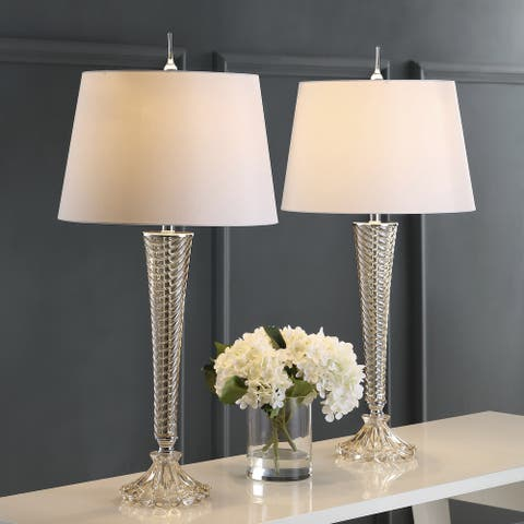 """Caterina 32"""" Glass LED Table Lamp, Champagne (Set of 2) by JONATHAN Y"""