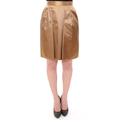Dolce & Gabbana Gold Stretch Above Knee Zipper Skirt