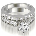 3.44 cttw. 14K White Gold Cathedral Round Cut Diamond Bridal Set - Thumbnail 0