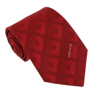 Versace Red Woven Tonal Check Tie