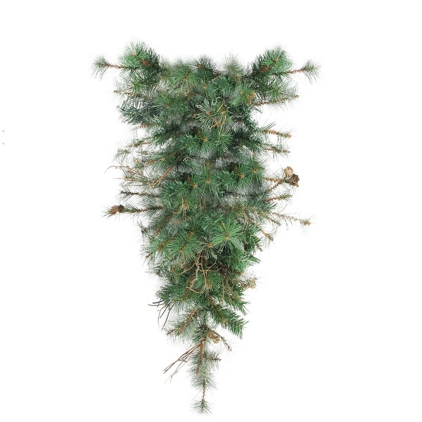 """36"""" Country Mixed Pine Artificial Christmas Teardrop Swag - Unlit - green"""