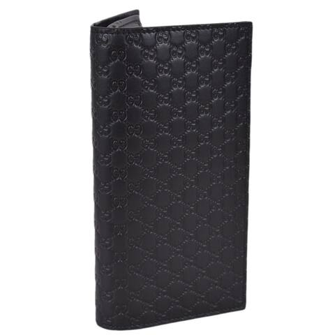 """Gucci Men's Black Leather Micro GG Guccissima Long Chest Pocket Wallet W/ID - 7"""" x 3 1/2"""" x 6/8"""""""