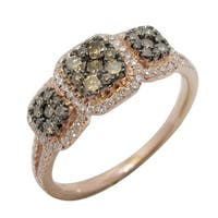 Prism Jewel 0.65Ct Brown Color Diamond with Natural Diamond Cluster Ring, Rose Gold - White G-H