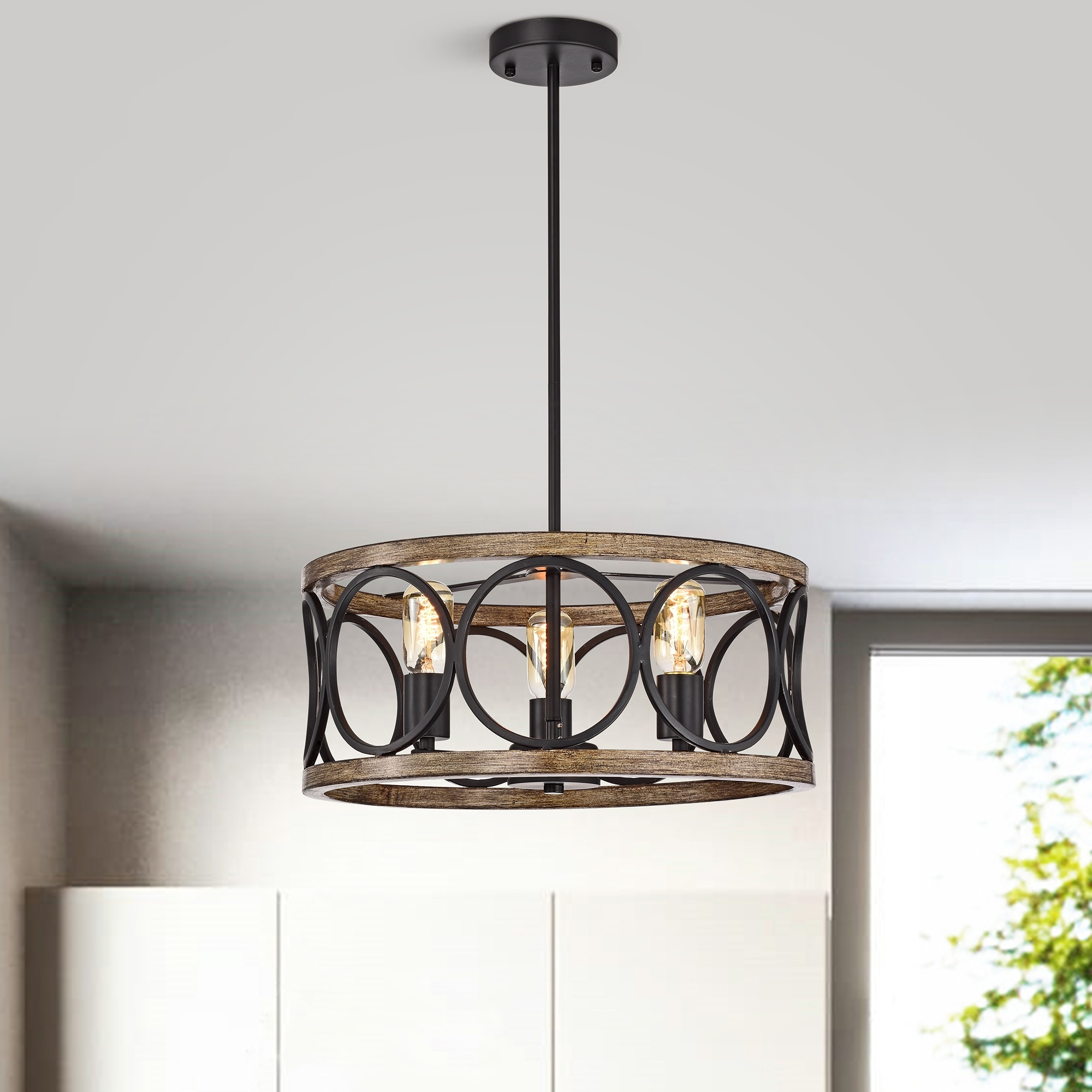 Shacer Matte Black Faux Wood 3 Light Drum Cage Chandelier Overstock 31934939