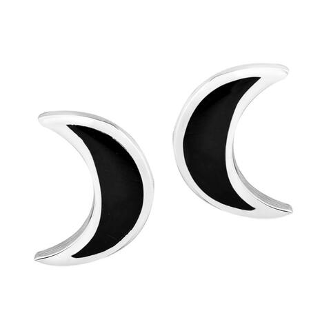 Handmade Adorable Crescent Moon Shaped Sterling Stud Earrings (Thailand)