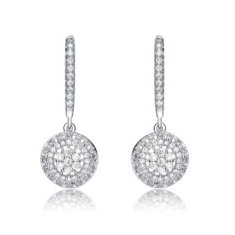 Alberto Moore Rhodium Plated Clear Round and Baguette Cubic Zirconia Leverback Earrings
