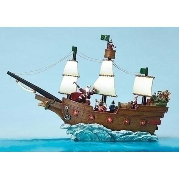 """19"""" Amusements LED Lighted Musical Pirate Ship with Santa Claus Christmas Table Top - brown"""