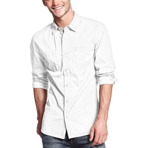 b91ae07deb50 Shop Guess Mens Slim Fit Long Sleeve Shirt Large White Laguna Tumble - Free  Shipping On Orders Over $45 - Overstock - 23006850