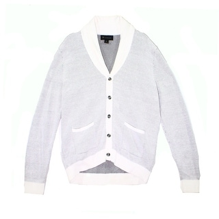 INC NEW White Mens Size Large L Cardigan Shawl-Collar Button Sweater