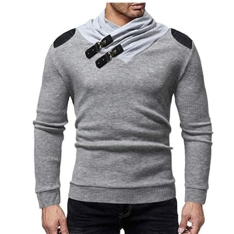 Men's Sweater Pullover Heap Collar Ribbed Knitted Sweatershirt with Leather Buttons Winter