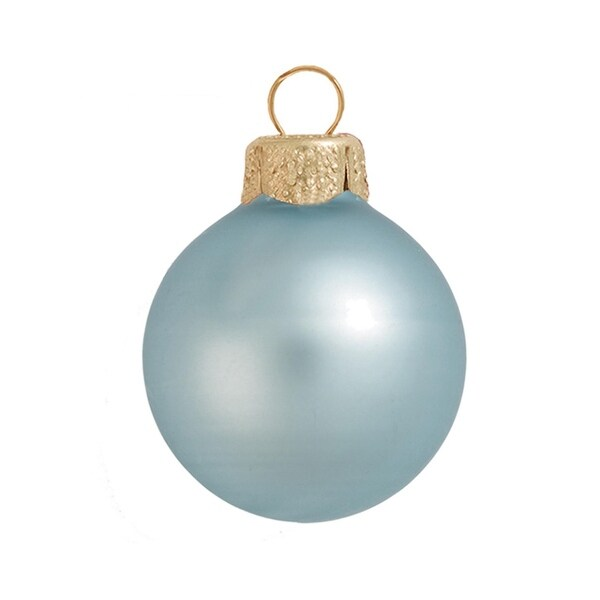 "6ct Matte Baby Blue Glass Ball Christmas Ornaments 4"" (100mm)"