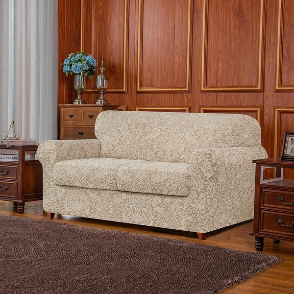 Subrtex 3-piece Separate Couch Cover Jacquard Damask Stretch Loveseat. Opens flyout.