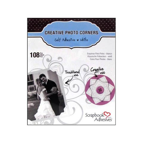 01628-10 3l scrapbk adh photo corners paper white 108pc
